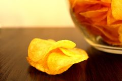 Crispy chips delicious potato crisp glass plate. Chips, potato, , food, bowl, color, eating, unhealthy, chip, background, yellow, gourmet, salty, freshness stock photos