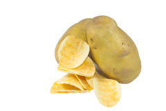Chips potato and peeled potato Royalty Free Stock Images