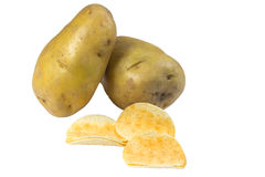 Chips potato and peeled potato Royalty Free Stock Image