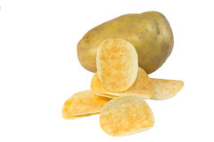 Chips potato and peeled potato Royalty Free Stock Photo