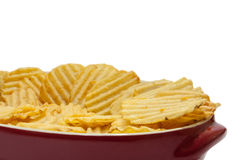 Chips potato in the red bowl Royalty Free Stock Photos