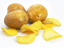 Chips with potato vegetables fast food. Chips with potato vegetables isolated over white background stock image