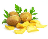 Chips with potato vegetables fast food. Chips with potato vegetables isolated over white background royalty free stock images