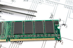 Chips on printed circuit board Royalty Free Stock Images
