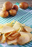 Chips and raw potatoes Stock Photography