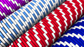 Chips Row Macro. 3D rendering of chips rows. Macro view Stock Photo