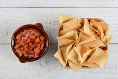 Chips and Salas Overhead View Royalty Free Stock Image