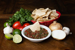 Chips and salsa. With ingredients stock photo