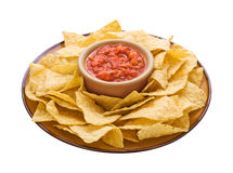 Chips & Salsa (with clipping path). Chips & Salsa isolated on a white background with a clipping path. Isolation is on a transparent layer in the PNG format stock image