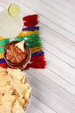 Chips Salsa Margarita Fotografía de archivo