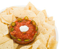 Chips and Salsa With Path. Tortilla chips and salsa isolated with clipping path stock photo