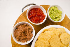 Chips Salsa Refried Beans Guacamole Nachos Food Fresh Appetizer Royalty Free Stock Image