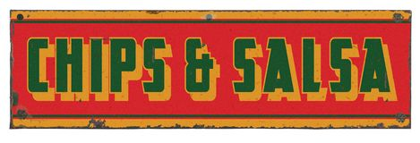 Chips and Salsa Vintage Sign stock photo