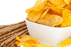 Chips and Saltsticks (with clipping path). Group of Chips and Saltsticks isolated on white background (with clipping path Stock Photo