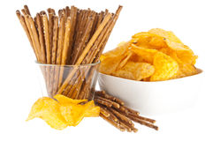 Chips and Saltsticks (with clipping path) Royalty Free Stock Photos