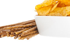 Chips and Saltsticks (with clipping path). Group of Chips and Saltsticks isolated on white background (with clipping path Stock Photos