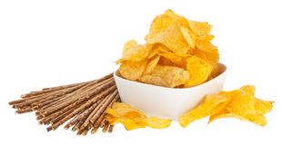 Chips and Saltsticks (with clipping path). Group of Chips and Saltsticks isolated on white background (with clipping path Royalty Free Stock Photos