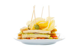 Chips sandwich Royalty Free Stock Images
