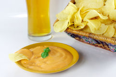Chips, sauce and beer Stock Photography