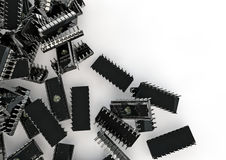 Chips spill. 3D render of computer chips Stock Photo
