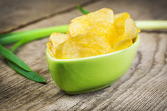 Chips with spring onion Stock Image