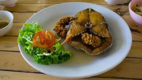 Chips-stekt fisk med sallad och sås Arkivfoton