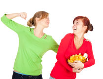 Chips and teenage girl friends Royalty Free Stock Images