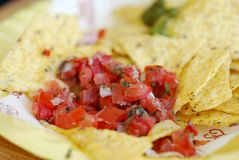 Chips with tomato Stock Photo