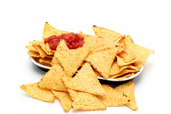 Chips tortilla nachos with sauces Stock Image