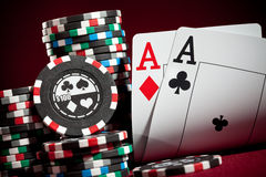 Chips and two aces Royalty Free Stock Images