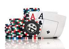 Chips and two aces. Isolated on a white background royalty free stock photography