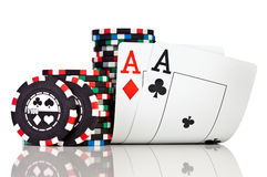 Chips and two aces Royalty Free Stock Photos