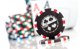 Chips and two aces Stock Photos