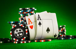 Chips and two aces Stock Photography