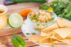 Chips und Tomate Torrtilla Stockfotografie