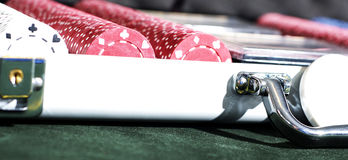 Chips up close. A close up shot of a brightly lit case of poker chips Stock Photo