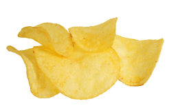 Chips on a white background stock photos