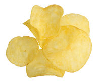 Chips on a white background stock images
