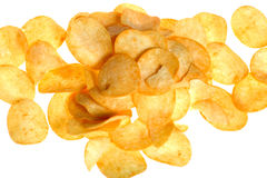 Chips on white close up stock photo
