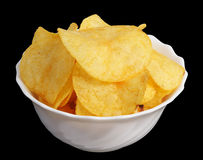 Chips in a white cup royalty free stock image