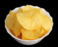 Chips in a white cup stock image