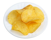 Chips in a white plate stock photography