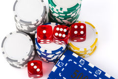 Chipse and Dice Royalty Free Stock Photos