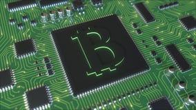 Chipset με το σύμβολο bitcoin BTC Οι συναλλαγές μεταλλείας ή cryptocurrency αφορούσαν την τρισδιάστατη απόδοση Στοκ Εικόνες