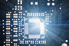 Chipset. Close-up of electronic circuit board. Macro Royalty Free Stock Photography