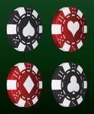 Chipset del póker del vector con los iconos del traje de la tarjeta Imagenes de archivo