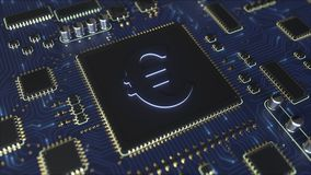Chipset with euro EUR symbol. Fintech related conceptual 3D animation stock video