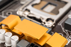 Chipset Heatsink On Motherboard Royalty Free Stock Photo