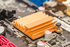 Chipset Heatsink On Motherboard Royalty Free Stock Images