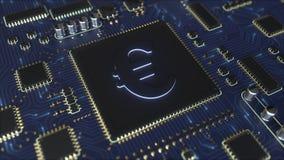 Chipset med symbol för euro EUR Fintech gällde den begreppsmässiga animeringen 3D stock video
